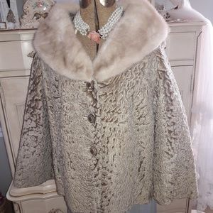 VTG GRAY PERSIAN BLEND JACKET W/ HUGE MINK COLLAR!